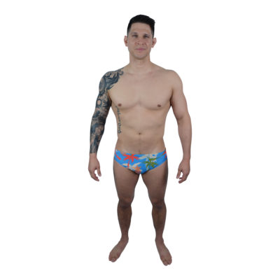Blue Tropical Mens Swimming Briefs | Innate Active Sustainable Swimwear made from recycled plastic bottles