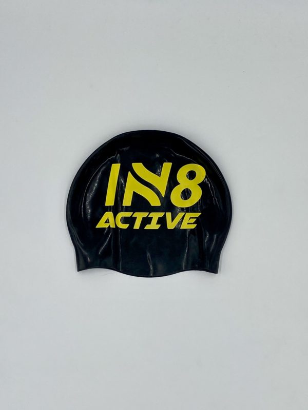 IN8 Black and Yellow Silicone Swim Cap   IN8 Active